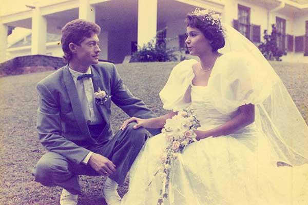 faded colour wedding photo