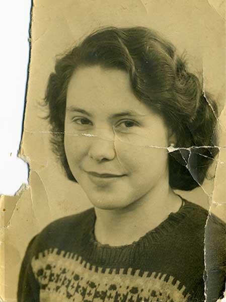 Damaged old black and white photo